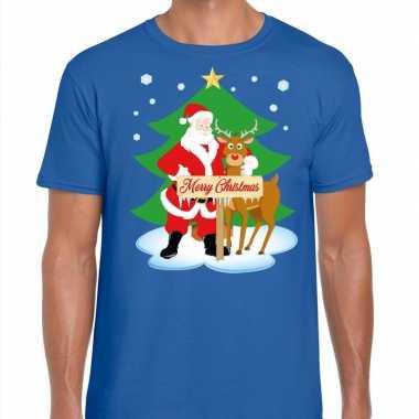 Foute fout kerstmis shirt blauw kerstman rudolf heren kersttrui
