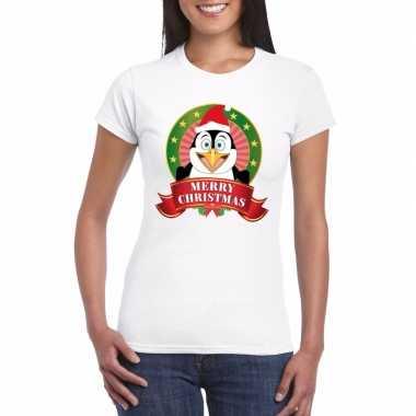 Foute fout kerstmis shirt pinguin print dames kersttrui