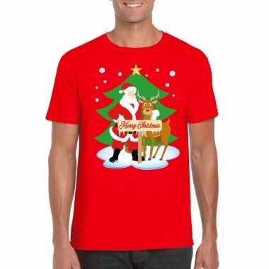 Foute fout kerstmis shirt rood kerstman rudolf heren kersttrui