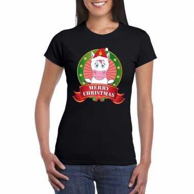 Foute fout kerstmis shirt zwart eenhoorn dames kersttrui