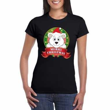 Foute fout kerstmis shirt zwart ijsbeer dames kersttrui