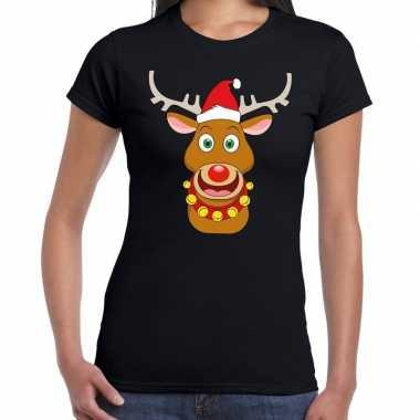 Foute fout kerstmis shirt zwart kerstman rudolf dames kersttrui