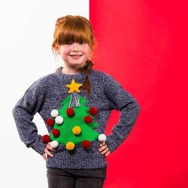 Foute grijze kerst sweater kerstboom kinderen kersttrui