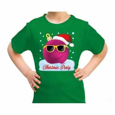 Foute groen / kerstkleding coole blauwe kerstbal christmas party kinderen kersttrui