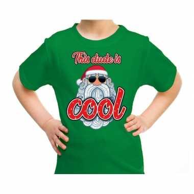 Foute groen / kerstkleding this dude is cool stoere santa kinderen kersttrui