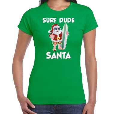 Foute groen kerstshirt / kerstkleding surf dude santa dames kersttrui