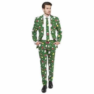 Foute groene business suit kerst thema kersttrui