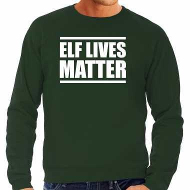 Foute groene kersttrui/ kerstkleding elf lives matter heren