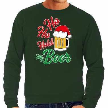 Foute groene kersttrui / kerstkleding ho ho hold my beer heren grote maten