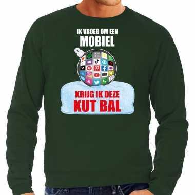 Foute groene kersttrui / kerstkleding ik vroeg om een mobiel krijg ik deze kut bal heren social media kerstbal