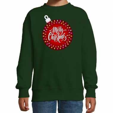 Foute groene kersttrui / kerstkleding kerstbal merry christmas kinderen