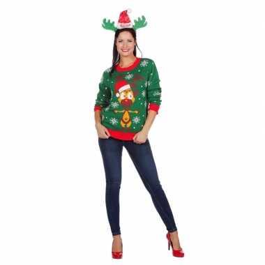 Foute groene kersttrui rendier dames