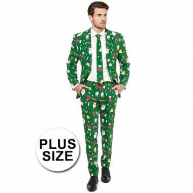 Foute grote maat groene business suit kerst thema kersttrui