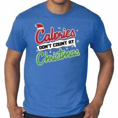 Foute grote maten kerstborrel shirt / fout kerst calories dont count at christmas blauw heren kersttrui