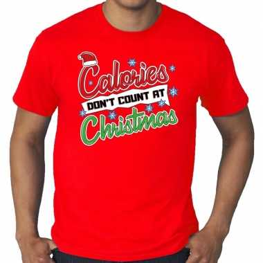 Foute grote maten kerstborrel shirt / fout kerst calories dont count at christmas rood heren kersttrui