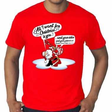 Foute grote maten kerstborrel shirt / fout kerst zingende kerstman gitaar rood heren kersttrui
