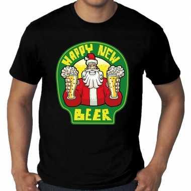 Foute grote maten oud nieuw / kers happy new beer zwart heren kersttrui