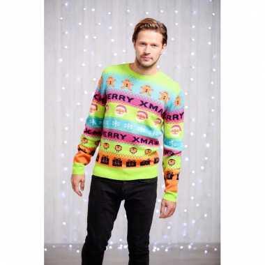 Foute heren kersttrui felle kleurenprint
