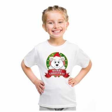 Foute ijsbeer kerstmis shirt wit jongens meisjes kersttrui
