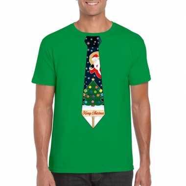 Foute kers groen kerstboom stropdas heren kersttrui