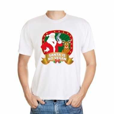 Foute kers wit santa is no vegan heren kersttrui