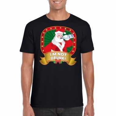 Foute kers zwart dronken kerstman heren kersttrui