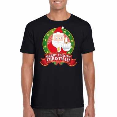 Foute kers zwart merry fucking christmas heren kersttrui