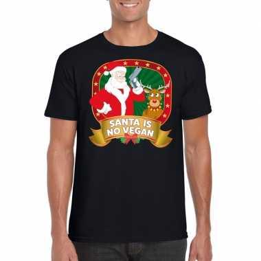 Foute kers zwart santa is no vegan heren kersttrui