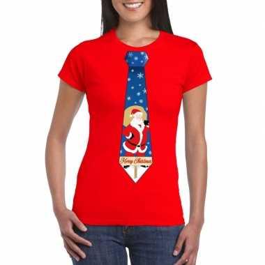 Foute kerst kerstman stropdas rood dames kersttrui