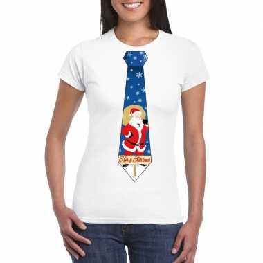 Foute kerst kerstman stropdas wit dames kersttrui