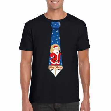 Foute kerst kerstman stropdas zwart heren kersttrui