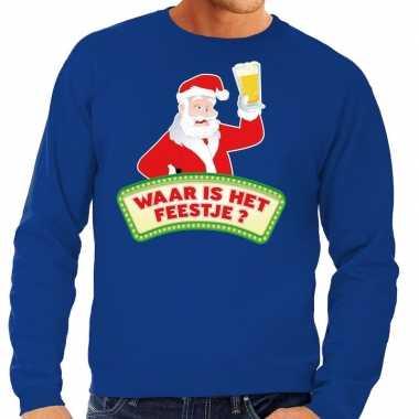 Foute kerst sweater blauw dronken kerstman bier heren kersttrui