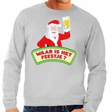 Foute kerst sweater grijs dronken kerstman bier heren kersttrui