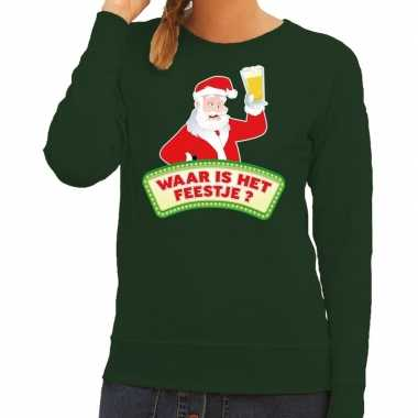 Foute kerst sweater groen dronken kerstman bier dames kersttrui