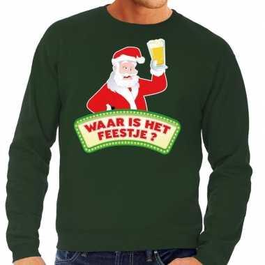 Foute kerst sweater groen dronken kerstman bier heren kersttrui
