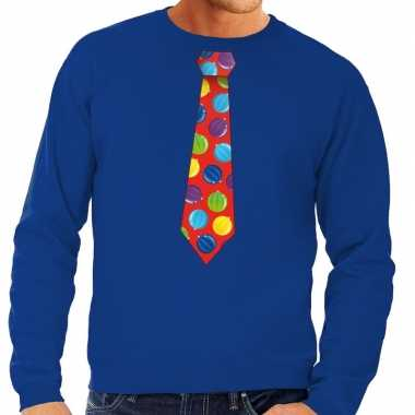 Foute kerst sweater kerstballen stropdas blauw heren kersttrui