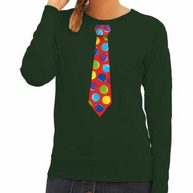 Foute kerst sweater kerstballen stropdas groen dames kersttrui