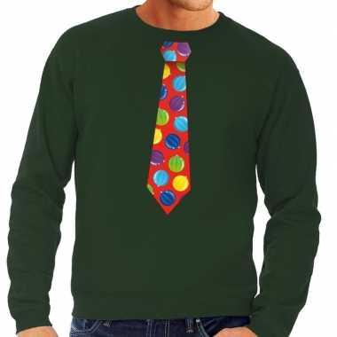 Foute kerst sweater kerstballen stropdas groen heren kersttrui