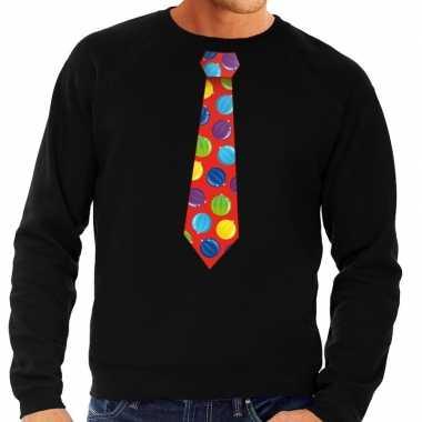 Foute kerst sweater kerstballen stropdas zwart heren kersttrui