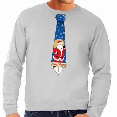 Foute kerst sweater kerstman stropdas grijs heren kersttrui