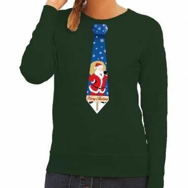 Foute kerst sweater kerstman stropdas groen dames kersttrui