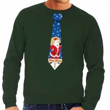 Foute kerst sweater kerstman stropdas groen heren kersttrui