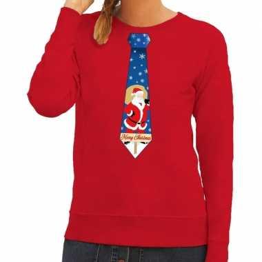 Foute kerst sweater kerstman stropdas rood dames kersttrui