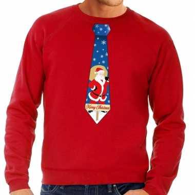 Foute kerst sweater kerstman stropdas rood heren kersttrui