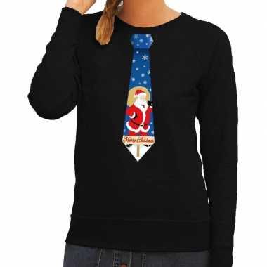 Foute kerst sweater kerstman stropdas zwart dames kersttrui