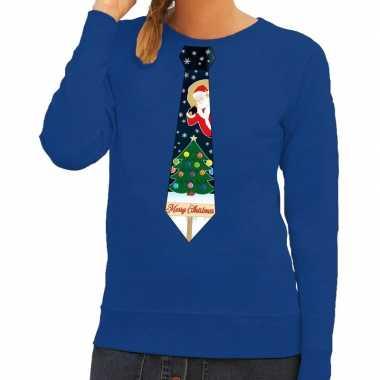 Foute kerst sweater kerstmis stropdas blauw dames kersttrui