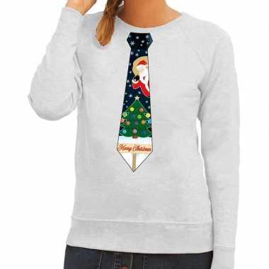 Foute kerst sweater kerstmis stropdas grijs dames kersttrui