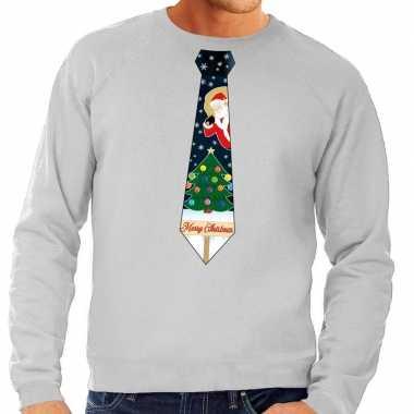 Foute kerst sweater kerstmis stropdas grijs heren kersttrui