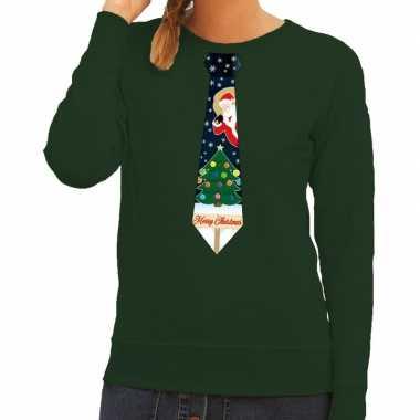 Foute kerst sweater kerstmis stropdas groen dames kersttrui