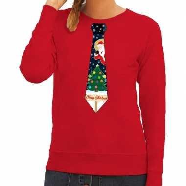 Foute kerst sweater kerstmis stropdas rood dames kersttrui